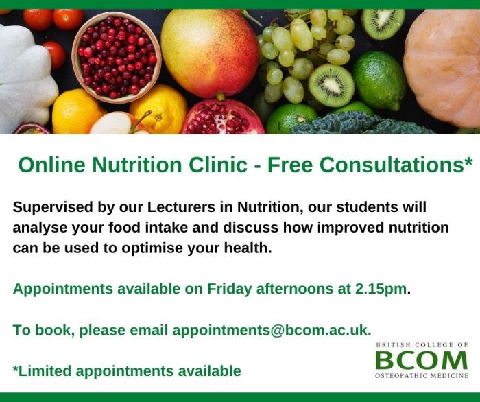 BCOM Nutrition Clinic – Free Consultations