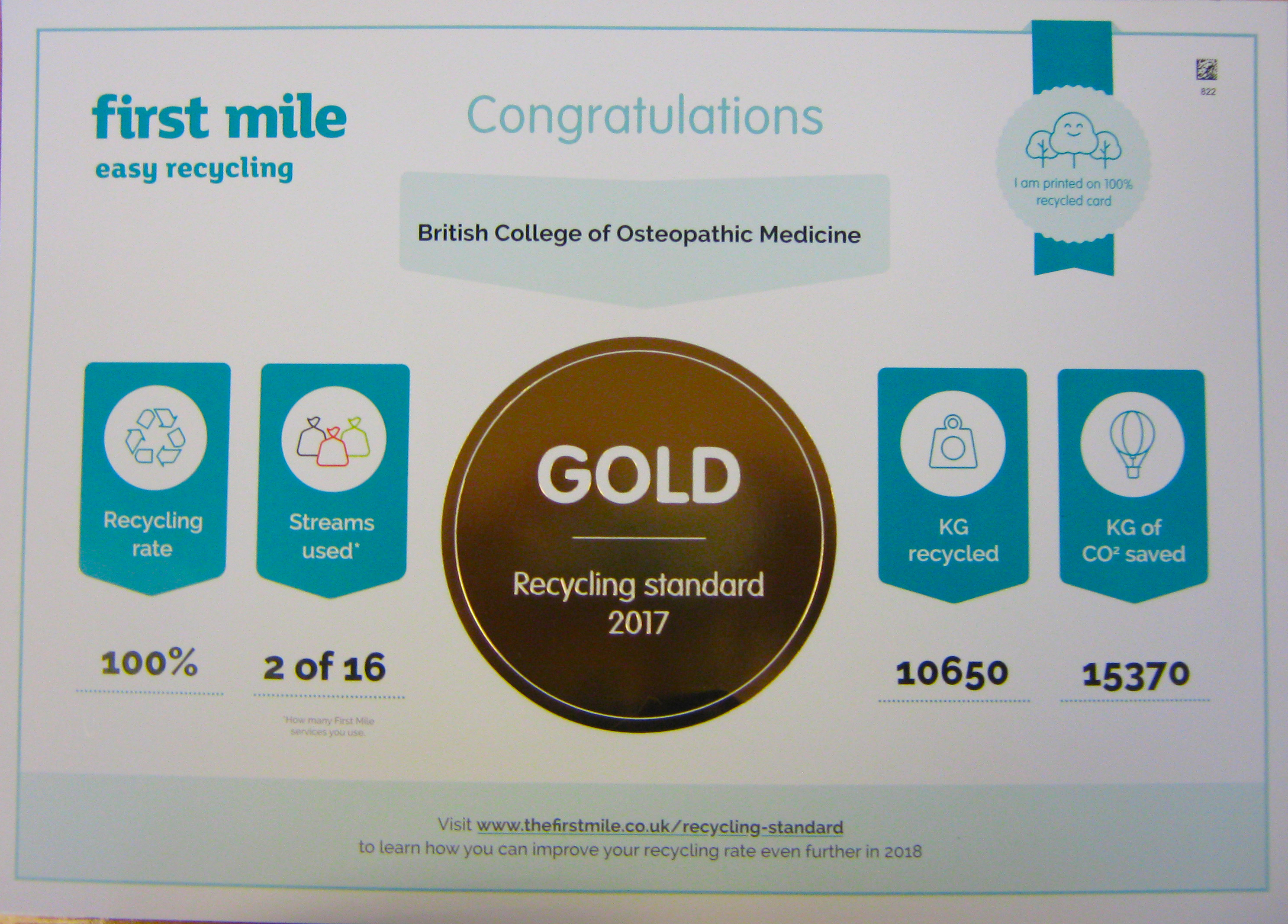 BCOM receives 'Gold' award for recycling