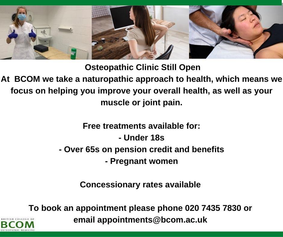 BCOM Clinic is still open!